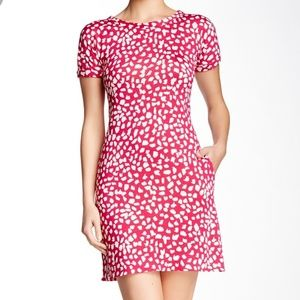 DVF Beth Silk Print Dress Pink Dhalia
